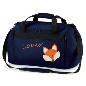 Sporttasche mit Namen | Motiv Fuchs in blau orange braun