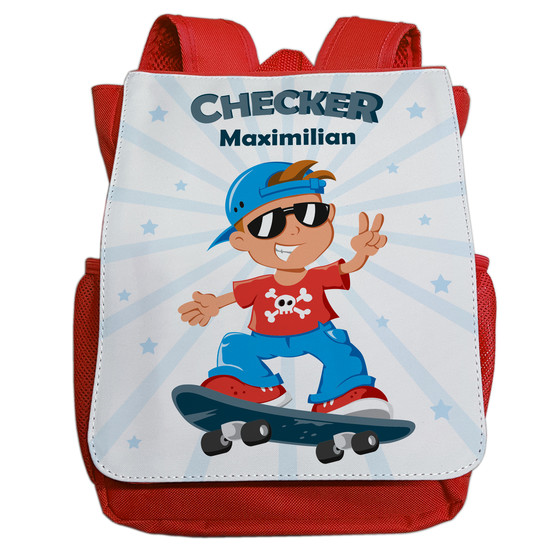 Kindergartenrucksack mit Namen | Motiv Checker & Skateboard in blau